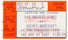 1987 Hockey Ticket Stub: L.A. KINGS vs QUEBEC NORDIQUES