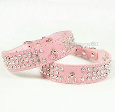 Bling 3 Rows Diamante Rhinestone Dog Cat Collar Suede Leather Pet Collar Pink