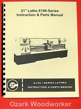 Clausing Colchester 21 8100 Series Metal Lathe Operating Amp Parts Manual 0162