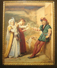 Stunning Rare Adolphe Midy 1830s Genre Watercolor Nobleman Courting Woman