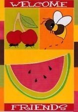 "Summer Picnic Welcome Friends Garden Flag Mini Banner 12""X19"" Bee Cherry Ants"