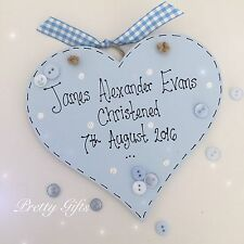 Personalised Christening Heart Plaque Keepsake Gift Baby Girl Boy Handmade