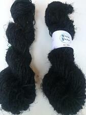 Sari silk yarn, yarn, knitting, crochet, weaving, black handspun yarn 5 yards