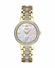 Seiko Women's Solar Gold Tone Stainless Steel Swarovski Crystals Watch SUP364