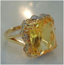 18k Yellow gold Over Magnificent Emerald Cut Yellow Citrine Lady Ring Size 7-8-9