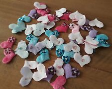 10  Furry Felt Heart padded embellishments Fabric Flatback Flower Gem Stone