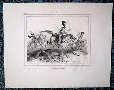 Lithographie, XIXème, Cuirassiers prussiens