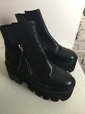NEW Jeffrey Campbell Black Leather Platform Ankle Boots. Size 4UK. Rrp £195