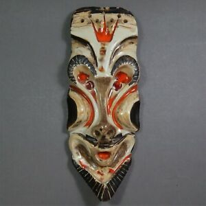 "15"" Art Pottery Wall Mask Barbara Watkins African Tiki Face Style Mid Century"