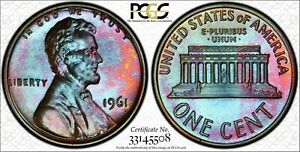 1961 LINCOLN MEMORIAL PCGS PR67 COLORFULLY TONED COIN! WOW! ONLY 1 GRADED HIGHER