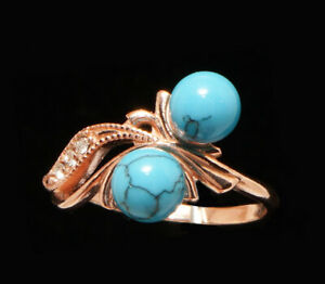 Blue Turquoise 2 Balls 14k Rose Gold Filled Ring  6.5 M  Russian