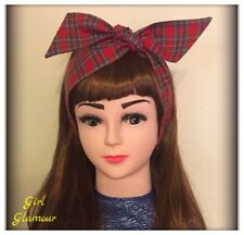 Royal Stewart Red Tartan Headband Bandana Headscarf Bow Scottish Skirt Dress