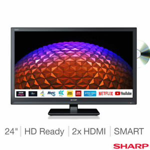 """Sharp 1T-C24BE0KR1FB 24"""" HD Ready Smart TV with Built-in DVD Player in Black"""