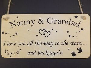 """""""Nanny & Grandad - love to the stars"""" Wood sign hanging plaque love present gift"""
