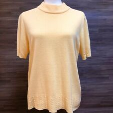 Ladies Women's size L large Jennifer Moore yellow sweater top shirt blouse