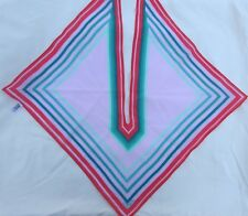 """Awesome VERA 100% Polyester Striped Square Split Collar Scarf ~ Japan 16"""" x 16"""""""