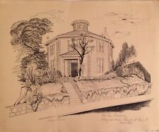 Rare Evelyn Curro Print Drawing of Colonial Dames Octagon House San Francisco
