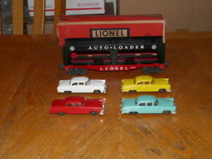 LIONEL 6414 AUTOMOBILE CAR WITH 4 CARS RED BLUE YELLOW WHITE & OB GOOD PIECE