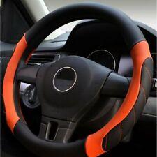 Black&Orange Soft Real Genuine Leather Car Cars Steering Wheel Cover Glove UK
