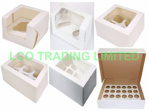 """Cupcake Box 1 2 4 6 12 or 24 Hole Cavity Inserts Clear Window 3"""" deep CHEAPEST"""