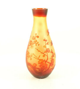 9973530-dss Verre Cameo Vase Cerise 16x37cm Neuf