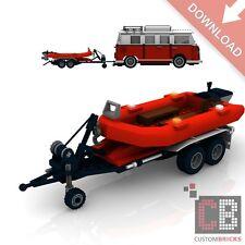 BAUANLEITUNG Eigenbau PDF Boot Anhänger MOC für LEGO® Steine zB VW T1 10220