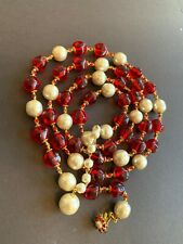 Sign Miriam Haskell Huge Baroque Pearls Rhinestone Red Beads Necklace Jewelry