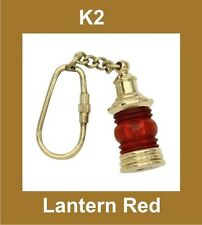 BRAND NEW NAUTICAL BRASS LANTERN SHAPE RED KEY RING KEYCHAIN KEY FOB @AUD