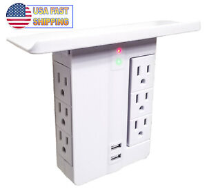 Wall Socket Power Outlet Shelf Stand w/ USB - 6 Electrical Plugs - Rotates - TV