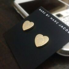 Nice New Marc by Marc Jacobs Shiny Yellow Gold Heart Logo Stud Pierced Earrings
