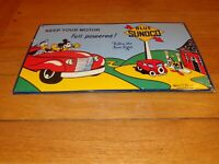 """VINTAGE 1940 SUNOCO MICKEY MOUSE & GOOFY 16.5"""" PORCELAIN METAL GASOLINE OIL SIGN"""