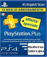 PLAYSTATION PLUS 12 MESI ABBONAMENTO ANNUALE ( CODICE ORIGINALE DA RISCATTARE)