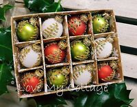 SET OF 12 Glass Traditional Mini Hanging Christmas Tree Baubles Boxed Red Green