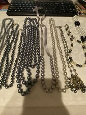 LOT OF 10 SILVER+BLACK GLASS+PLASTIC FAUX PEARL NECKLACES, VINTAGE-NOW