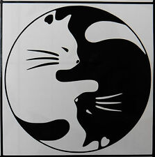 """Ying Yang cats""  Kitten myths magic  stickers/car/van/window/decal 5406 BlacK"