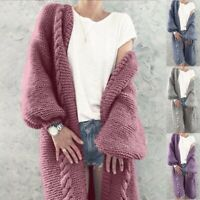 Women Coat Chunky Knitted Winter Warm Long Jumper Autumn Sleeve Cardigan Sweater
