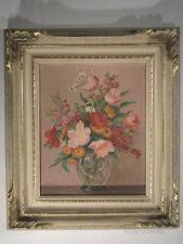 Peinture Huile Bouquet Champêtre de Printemps Fleurs Vase signé O. BALDARRI 1957