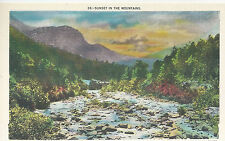 Sunset In The Mountains  River Valley   NC   Unused Linen Postcard 10204