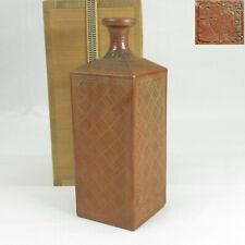 D580: Japanese square bottle KAKU-DOKKURI of old BIZEN pottery w/fine sculpture