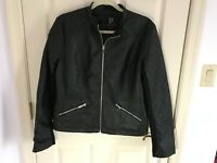 Woman's New York & Company size large faux leather zip up lined jacket