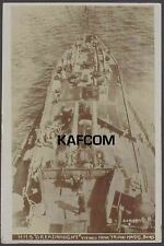 More details for postcard royal navy battleship hms dreadnought view from tripod masts cribb rppc