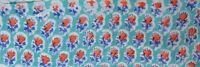 Turquoise Hand Block Print Pure Cotton Fabric Sanganeri Running 10 Yard Indian