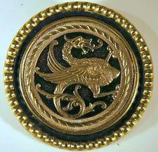 BROCHE BOUTON animal fantastique GRIFFON DRAGON laiton XIXè XXè diam 5,4cm