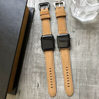 For Apple Watch Series 6 SE 5 4 40/44mm Brown Tan Calf Leather iWatch Strap Band