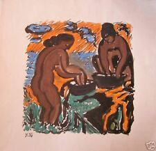 GOUACHE RUSSE-MONOGRAMMÉ-1985-BAIGNEUSES-LAVANDIÈRES-GOÛT MATISSE-NUS FEMININS