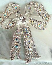 """Bridal 2½"""" AB Clear Crystal Bow Ribbon Brooch"""