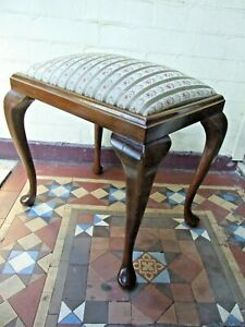 ANTIQUE MAPLE PIANO / BEDROOM STOOL UPHOLSTERED SEAT  AUST. FURNITURE 1920's
