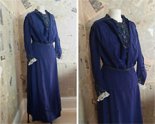 Antique late Victorian day dress, lace, embroidery, cobalt blue