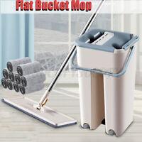 360° Flat Squeeze Microfiber Mop and Bucket Set Floor Cleaning +4/6/7/8/1 US