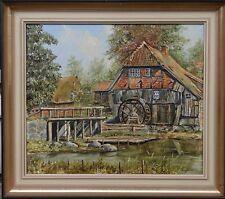 "unleserl. sign.grosses Gemälde ""Wassermühle"", Öl/Leinen, gerahmt    (260/12009)"